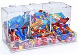 Displays2go 3-Compartment Acrylic Candy Bin