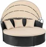 Devoko Round Daybed with Retractable Canopy